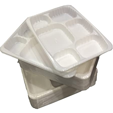 100 STRONG PREMIUM HEAVY DUTY WHITE PLASTIC 6 COMPARTMENT FOOD ...