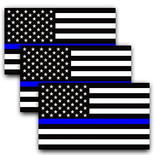 Anley 5 X 3 inch Thin Blue Line US Flag Decal - Black White and Blue Reflective Stripe American Flag Car Stickers - Support Police and Law Enforcement Officers (3 Pack) (Vinyl Waterproof Flag Decals)