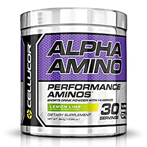 Cellucor Alpha Amino Acids Supplements with BCAA Powder, Lemon Lime, 13.54 Ounce (30 Servings)