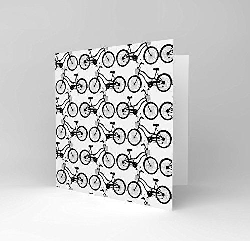 Bicycle Birthday Card (NEW CUTE BLACK WHITE RETRO BIKE BICYCLE PATTERN GREETINGS BIRTHDAY CARD CS040)