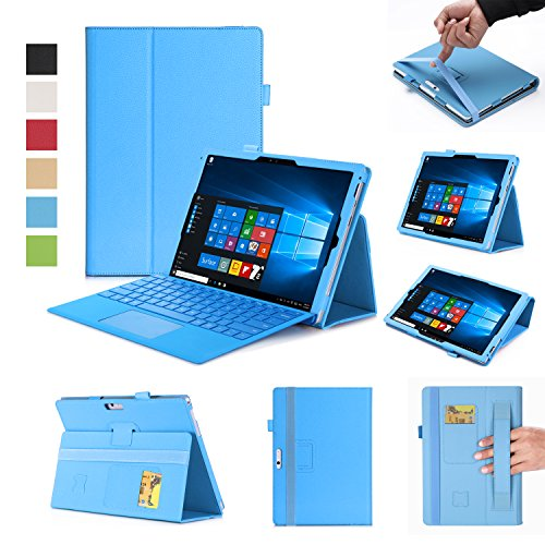 Microsoft New Surface Pro 2017 / Pro 3 / Pro 4 12.3 Inch Case-Premium PU with Hand Strap, Card Slots,Ultra Slim Magnetic Smart Cover Case (Blue)