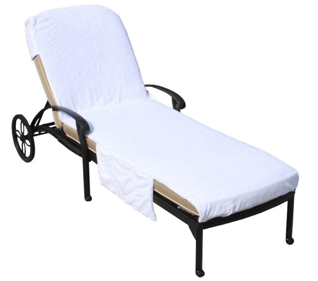 SALBAKOS Lounge Chair Cover Luxury Turkish Cotton Side Pocket Option Eco-friendly (32''x102'' With Side Accessory Pocket)