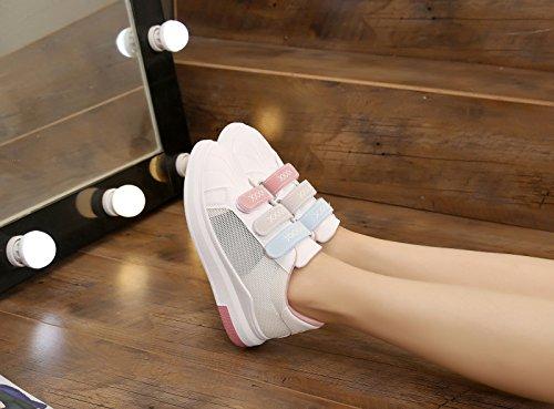 Zapatos Base Zapatos Estudiantes Mujer Junta de Hebillas Tenis Transpirable Casual Espesor Zapatos Verano gris de de mujer Zapatos de Zapatos Deporte Red GTVERNH 1Hd47qg4