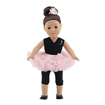 ad7a95d51049 Buy Fits 18 American Girl Dolls Ballerina Outfit with Black Unitard ...