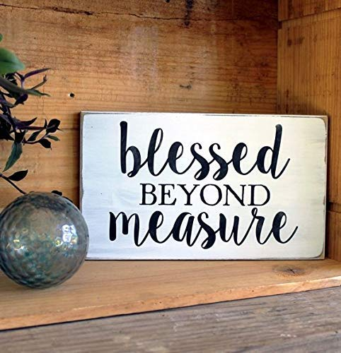 (Funlaugh Blessed Beyond Measure Sign Painted Worn Finish Wood Vintage Look Wooden Plaque Sign Crafts for Living Room Decorative)