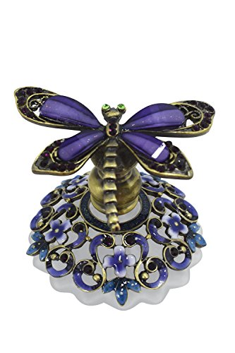 (Welforth Flower Garden Dragonfly Pewter and Glass Perfume Bottle)