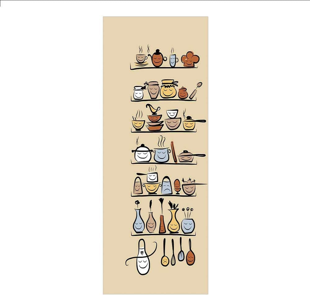 Decorative Privacy Window Film/Kitchenware and Utensils Appliances Ornaments Spice Rack Vintage Retro Style Design/No-Glue Self Static Cling for Home Bedroom Bathroom Kitchen Office Decor Brown Cream