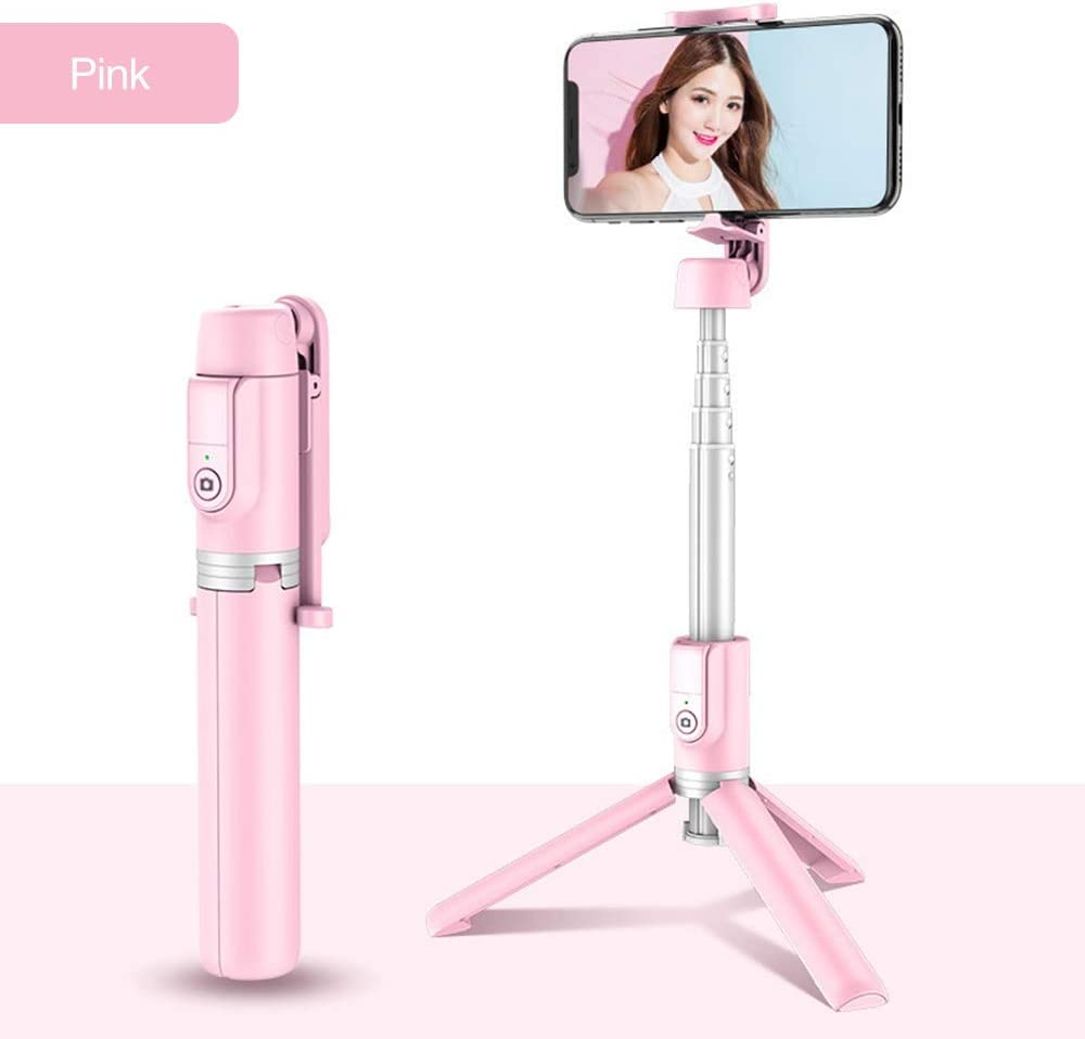 Bluetooth Selfie Stick Tripod, Mini Extendable 3 in 1 Aluminum Selfie Stick with Wireless Remote and Tripod Stand with 270 Rotation Function for iPhone 11/ Pro/XS Max/XS/XR/X/8/7 (Pink)