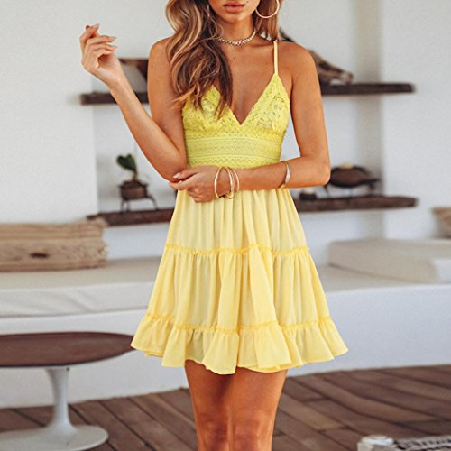 sera Beach Lace Summer da a White V Overdose Abiti Mini giallo scollo Backless Party Women Dress Sundress con cppq7zRv