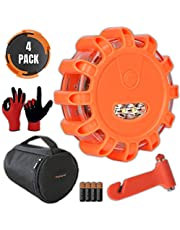 LED Road Flares Emergency Lights - Roadside Warning Car Safety Flare Kit for Vehicles & Marine Boat   Rescue Beacon Disc Pack with Discs & Window Hammer Seatbelt Cutter & Gloves & Bag by Promondi