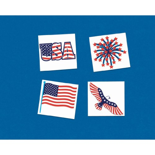 "Patriotic Party Tattoos, 4"" x 4"", 24 Ct."