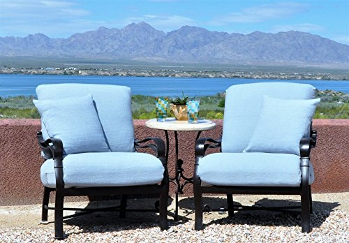 Pair (2 sets) CushyChic Outdoors Slipcovers for 2 Piece Deep Seat Cushions In Air Blue, Plus Your Color Choice of 2 Pillow Slips (Air Blue with Matching Square Pillow Slips) (Outdoor Cushion Slipcover)