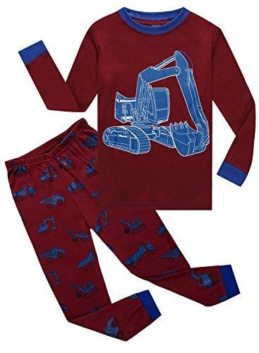 IF Pajamas Little Boys Long Sleeve Excavator Pajamas Sets 100% Cotton Sleepwears Toddlers Kids Pjs Size 2T