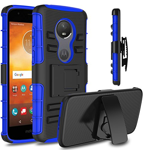 Moto E5 Play Case, Moto E5 Play Cruise Case, Venoro Heavy Duty Shockproof Armor Holster Defender Full Body Rugged Protective Case Cover with Kickstand and Belt Swivel Clip (Dark ()