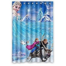 Custom design Frozen Cartoon Movie Elsa Anna Olaf Kristoff Sven Shower curtain, size Width * Height / 48*72 inch / 122*183 cm, Polyester, Waterproof, best and suitable for family