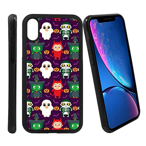 [Funny Kids in Halloween Costume] Compatible with Apple iPhone XR, Non-Slip Soft Rubber Side & Hard Back Case Cover Shell Skin ()