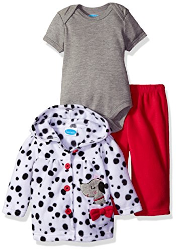 BON BEBE Girls' 3 Piece Microfleece Jacket Set, Dalmatian Puppy, 0-3 Months (3 Piece Jacket)