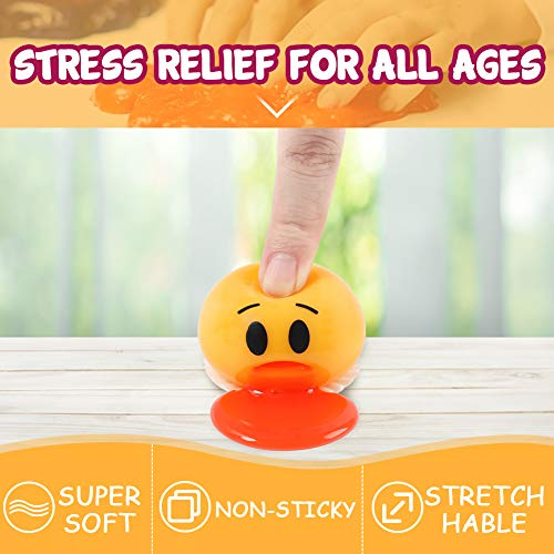 LovesTown Emoji Slime Squeeze Toy,6 Pcs Emoji Vomit Eggs Yolk Stress Ball Squishy Stress Relief Party Favor Novelty Gag Toys for Practical Jokes