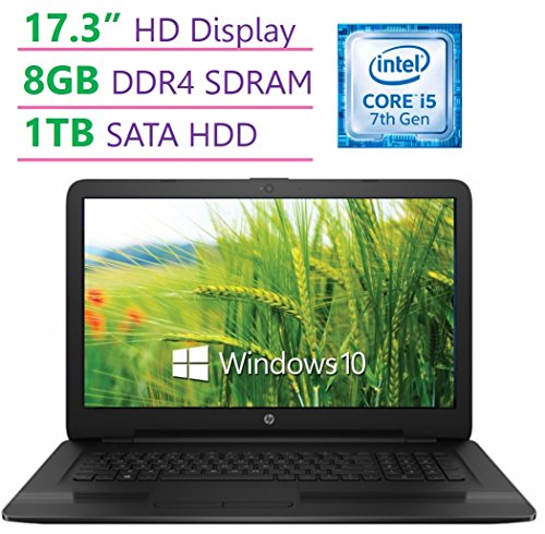 Model HP 17.3''HD+ SVA WLED-backlit (1600x900) Display Laptop PC, Intel Core i5-7200U 2.5GHz, 8GB DDR4 RAM, 1TB HDD, DTS Studio Sound, Intel HD Graphics 620, DVD +/- RW, Windows 10
