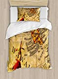 Lunarable Vintage Hawaii Duvet Cover Set Twin Size, The Map of Honolulu and Oahu from 1949 Torn Worn Old Design Print, Decorative 2 Piece Bedding Set with 1 Pillow Sham, Sand Brown Vermilion