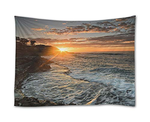 SHADENOV Wall Hanging Tapestry - Alicante Valencia Spain The mediterranean sea Sunset - Tapestry Art Sets for Home Decor Living Room Bedroom Dorm Decor 60x51 Inches by SHADENOV