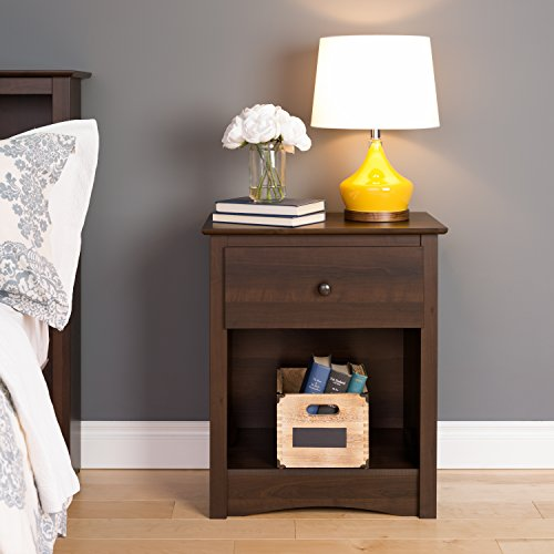 Prepac EDC-2401 Fremont Nightstand, Tall 1-Drawer, Espresso (1 Drawer Side Table)