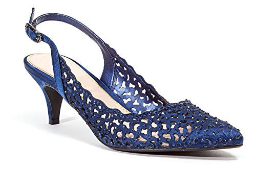 LADY COUTURE WOMEN'S DRESSY 2 1/2 INCH HEEL SHOES JEWEL NAVY (Couture Shoes Heels)