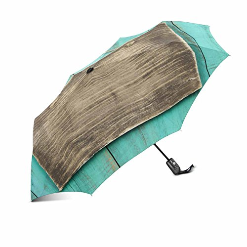 Price comparison product image InterestPrint Blank Rustic Wooden Sign Hanging on Washed Out Teal Blue Distressed Wood Compact Lightweight Foldable Automatic Umbrella for Men Women,  Auto Open Close