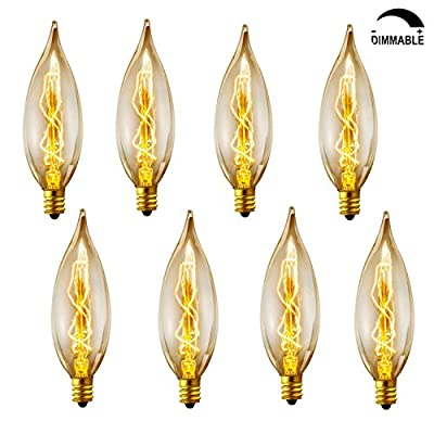 Vintage Incandescent Chandelier Light Bulbs 40W 110-130V, 280 Lumen Bent Flame Tip Light Bulb with Candelabra Base (E12) Home Light Fixtures Decorative, Dimmable,8-Pack
