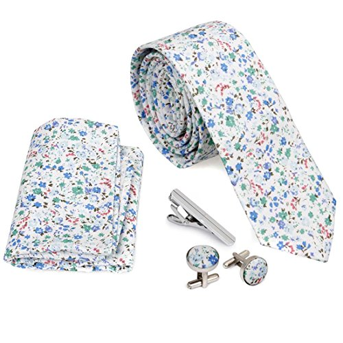 Bundle Monster 4pc Floral Design Matching Pattern Mens Suit Fashion Accessories - Tiny Flowers (Skinny Flower)