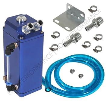 Universal de alta capacidad 750 ml tanque de aluminio depósito de aceite Catch con texto en cuadrado azul: Amazon.es: Coche y moto