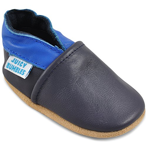 Soft Leather Baby Walking Shoes - Crib Shoes with Suede Soles - Dark Blue and Navy - 6-12 Months