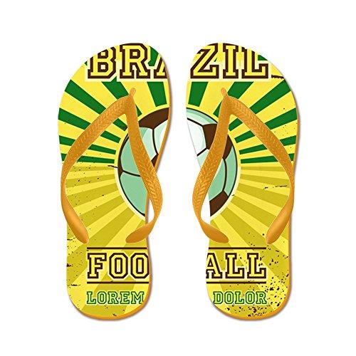 Price comparison product image Royal Lion Kid's Brazil Football Soccer Lorem Ipsum Orange Rubber Flip Flops Sandals 11.5-13