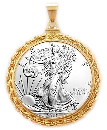 - NA Flintski Jewelry 1 oz Silver Eagle 1/20th 14k Gold Filled Rope Coin Bezel Frame Mount Pendant