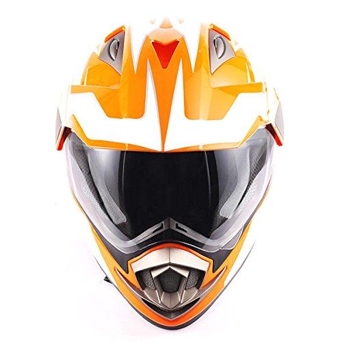 Dual Sport Helmet Motorcycle Full Face Motocross Off Road Bike Racing Orange White by 1Storm (Image #5)