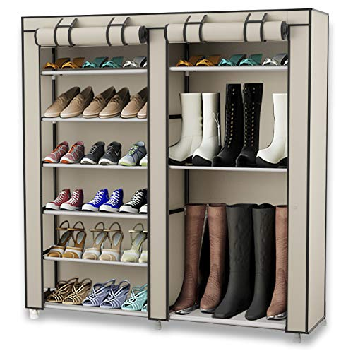 TXT&BAZ 27-Pairs Portable Boot Rack Double Row Shoe Rack Covered Nonwoven Fabric(7-Tiers - Coat Rack Cabinet With