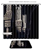 Minicoso Bath Two Piece Suit: Shower Curtains and Bath Rugs Alhambra Islamic Art Shower Curtain and Doormat Set