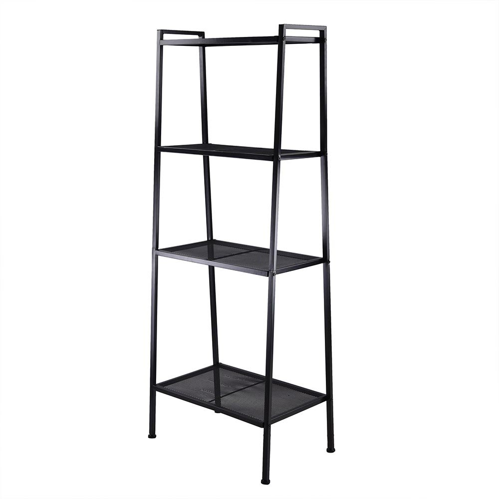 Azadx Ladder Shelf Bookcase, 4-Tier Multipurpose Iron Widen Ladder Bookshelf Plant Storage Organizer Rack, Shelf Display Rack for Home or Office Use (Black) by Azadx