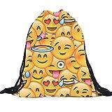 Buedvo Emoji 3D Print Shoulders Drawstring Bag,Travel Sports Portable Backpack