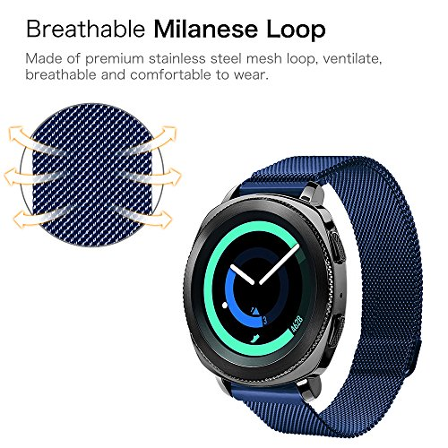 Gear Sport / Gear S2 Classic Watch Band, Fintie 20mm Milanese Loop Adjustable Stainless Steel Replacement Strap Bands for Samsung Gear Sport / Gear S2 Classic Smartwatch - Navy Photo #7