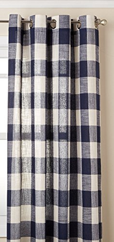 Lorraine Home Fashions 09570-63-00220 NAVY Courtyard Grommet Window Curtain Panel, Navy, 53 X 63
