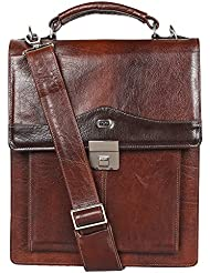 Vertical sling bag by Yeti Leather (Cognac). Made from soft and sturdy buffalo calf NECK HIDE leather. Accomodates...