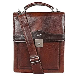 Yeti Leather Vertical Sling Bag (Cognac). Made from Soft and Sturdy Buffalo Calf Neck Hide Leather. Accomodates Ipad.