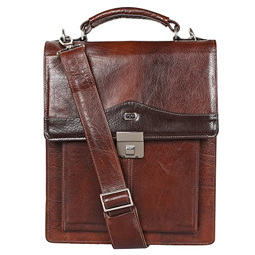 Vertical sling bag by Yeti Leather (Cognac). Made from soft and sturdy buffalo calf NECK HIDE leather. Accomodates (Cognac Leather Briefcase)