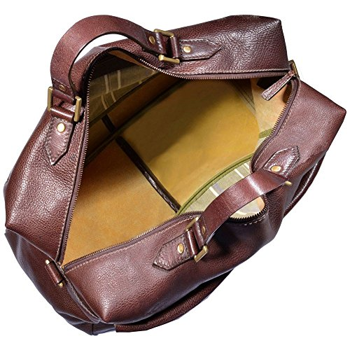 Hidesign Giles Carry On Leather Travel Duffle Weekend Bag (Brown)