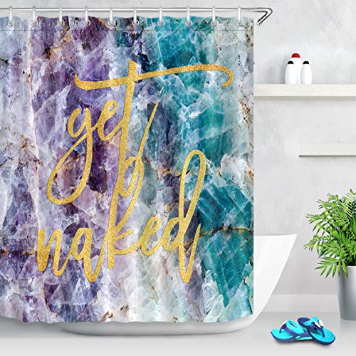 LB Get Naked Shower Curtain Gold Font with Hooks,Purple Blue Marble Bathroom Curtains Fashion Popular Style 60x72 inch Waterproof Polyester Fabric ()