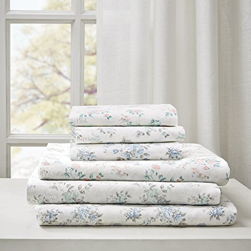 Madison Park Floral King Bed Sheets, Cottage/Country 100% Cotton Bed Sheet, Blue Bed Sheet Set 6-Piece Include Flat Sheet, Fitted Sheet & 4 ()