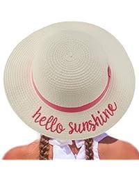 C.C Girls Kids Wording Sayings Summer Beach Pool Floppy Dress Sun Adjustable Hat Hello Sunshine, White