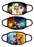 3PCS Anime Naruto 3D Print Face Protection Mask for