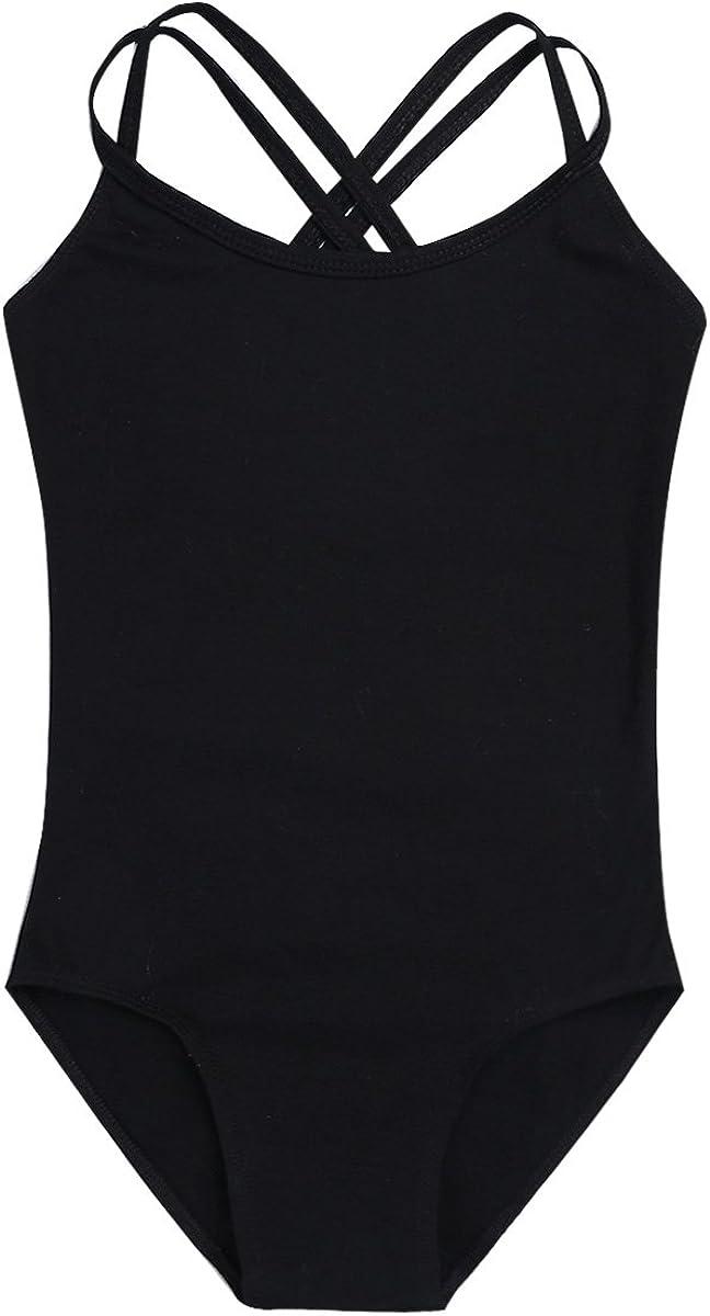 Mesh Tied Skirt Outfit Set iiniim Girls Spaghetti Shoulder Straps Ballet Dance Gymnastics Leotard